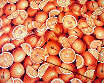 2~FQ's Oranges fruit fabric~ RJR 2008~ Farmers Market collection~Citrus~Cotton~Bargain Bin
