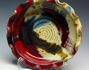 "Pottery Pie Plate Red Splash, 9"" Pie Plate, Pie Plate, Pie dish, Ayers Pottery, Pie Baker, Deep Dish Pie Plate"
