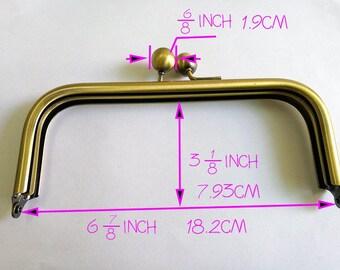 8 pieces  18.2* 7.93 CM  brass kisslock metal purse frame  bag clutch handbag clip