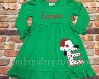 Monogrammed Girl's Christmas Dress, Girls Christmas Outfit, Girl's Santa Dress, Girls Christmas Dress, Toddler Girls Christmas Outfit