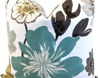Blue Floral Pillow Kravet Jellybean Pillow Aqua Throw Pillow Accent Pillow Euro Pillow or Lumbar Pillow ONE Cover