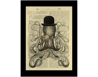 Octopus Wearing Monocle Bowler Hat Vintage Curiosity - Dictionary Print Book Page Art