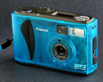 Polaroid See-Through Digital Camera Clear Blue Color MP3 Works Well Really Unique w 35mm f2.8 Lens MiNTY !