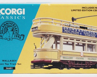 Vintage Tram Streetcar Corgi Die Cast Model Wallasey Open TopTram Set 36601 Boxed Limited Edition Collectable Home Decor
