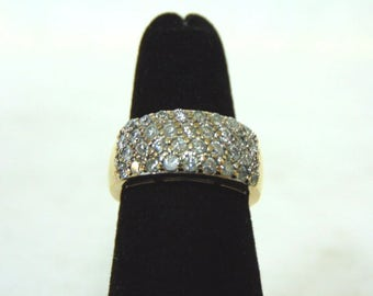 Amazing Womens Vintage Estate 14K Yellow Gold & Diamond Ring 4.4g #E2939