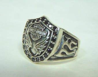 Mens Estate .925 Sterling Silver Harley Davidson Motorcycle Ring 21.5g #E3153
