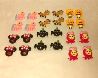 Resin flatbacks cabochon my little ponie spongebob minnie mouse spider ponie strawberry shortcake resin flatbacks sold in packs of 4 crafts