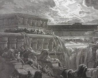 Milton's Paradise Lost by Gustave Dore Antique Print C. 1880 The Deluge (166)