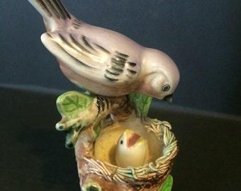 Vintage Ceramic Momma Blue Bird and Baby