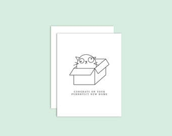 Congrats On Your Purrrfect New Home, Moving Card, New Home Card, Housewarming Card