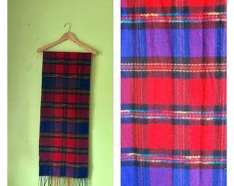 SALE Vintage PLAID scarf Winter Scarf cozy scarf BOHO scarf preppy scarf oversized scarf 1980s soft scarf