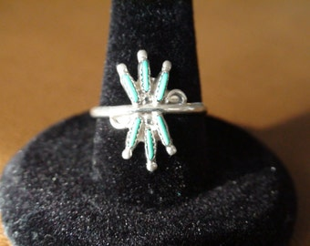 Native American Zuni Sterling Silver Petite Point Turquoise Stone Ring Size 7.75