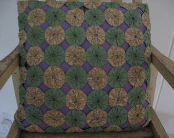 "Vintage YoYo Pillow 14"" Square, Hand Sewn, Lavender, Green, Beige Print, Accent Pillow"