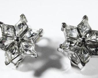 Delicate Vintage 1950s Signed Crown Trifari Rhodium Plated Clear Rhinestone Earrings