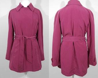 Vintage 1990s Bubblegum Pink London Fog Raincoat Jacket Trench Coat / Medium / 90s Retro Timeless Hipster