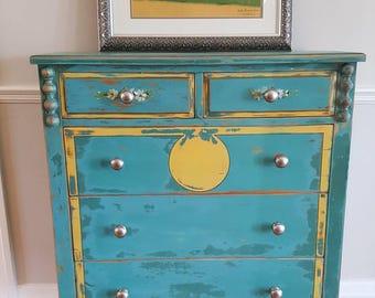 Vintage Painted Dresser, Teal, Shabby, Flowers