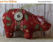 ON SALE Christmas fabric ornaments,  handmade ornaments, holiday ornaments, red and green, country decor, shabby cottage, stocking stuffer