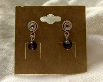Fun Amethyst Silver Plated Spiral Drop Earrings!