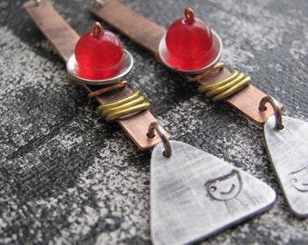 Copper Jewelry Earrings, Red Earrings, Metal Earrings, Dangle Earrings, Geometric Earrings, Rustic Earrings, Hammered Metal Earrings
