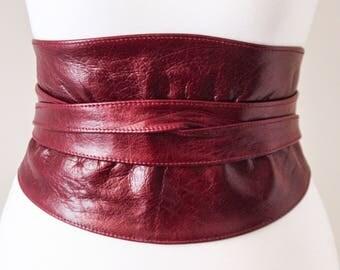Distressed Dark Red Obi Belt |Leather Sash Belt | Waist Corset Belt | Corset Leather belt | Leather Wrap Belt | Plus Size Belts