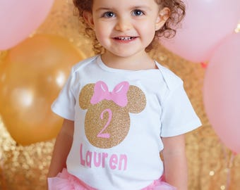 """Pink and gold Minnie Mouse  """"1 or 2"""" with  name bodysuit, chiffon tutu Bloomers, chev Lg Wrmers, &Hdbnd Set, 1st Birthday,Cake Smash"""