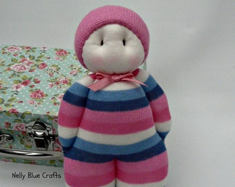 Beautiful handmade Pink multi Sock Doll perfect for little hands, made and ready to post