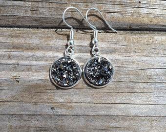 Silver Grey Druzy Dangle earrings, Flower earrings, Fishhook earrings, cabochon earrings, 12mm earrings, Gifts for her, Druzy Earrings