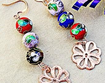 CLOISONNE COPPER EARRINGS, cloisonne earrings, cloisonne jewelry, copper earrings, copper jewelry, cloisonne beads, earrings - 0067