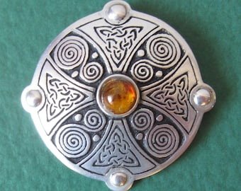 Vintage St. Justin Celtic Design Pewter Brooch