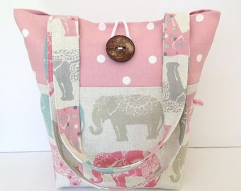 Elephants & Pink Dotty Tote Bag, Small Tote Bag, Small Lunch Bag