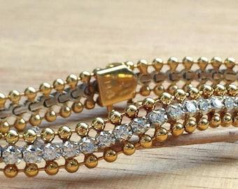 SALE! 14K Gold Vintage Diamond Bracelet