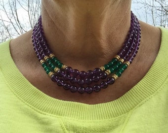 14k Yellow Gold Graduated Amethyst and Green Onyx Triple Strand Beaded Choker Necklace