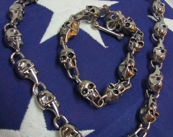 Skull Chain Link Necklace And Bracelet Matching Set - Heavy High Polished Stainless Steel