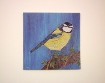 square art prints - nature inspired textiles - miniature blue birds - bird watchers gift - blue tit - blue tit print - blue tit art