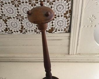 Antique Hat or Wig Stand 18 inches Turned Wood Hat Display