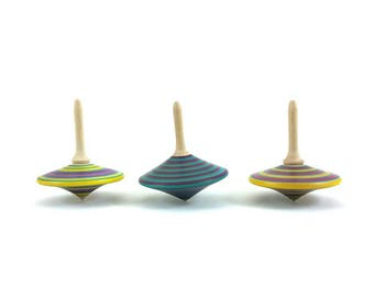 Three spinning tops (group G), Spinning top, Vintage Toys, Classic tops, Party bags, Party favors, Hand made toys, SilvanWoodturning