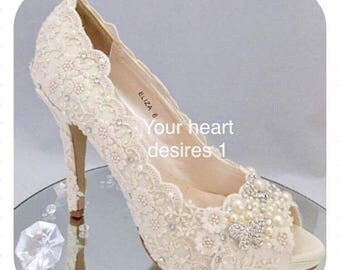 Wedding shoes ivory vintage style lace pearls crystals bridal shoes