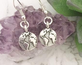 Wanderlust earrings - World earrings - Globe earrings - Earth earrings - Travel gift - Gifts for her - Best friend gifts - Mother's Day gift