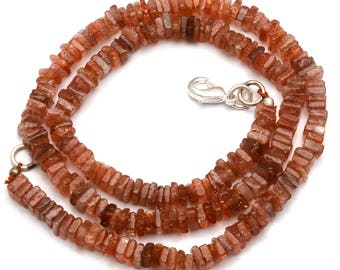 Natural Gem 113 Carets 16 Inch Strand, Super Finest-Quality-SUNSTONE Square HEISHI Cut Beads Necklace 4.5 to 5.5 mm size