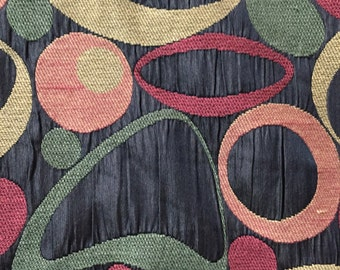 Black, Red, Green, and Gold Geometric Shapes - Upholstery Fabric by the Yard
