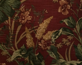 Tropical Botanical - Red, Green, and Yellow - Upholstery Fabric by the Yard