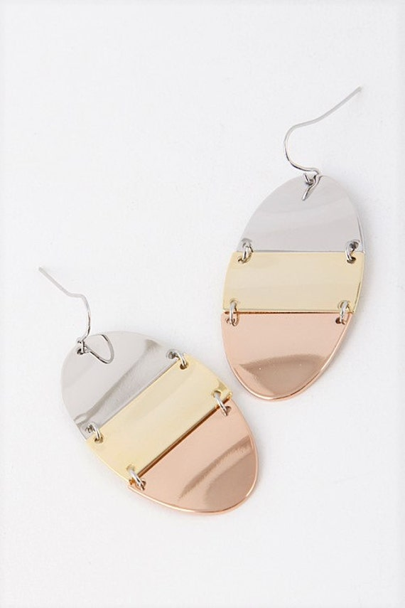 Unique Three Mixed Metal Earrings