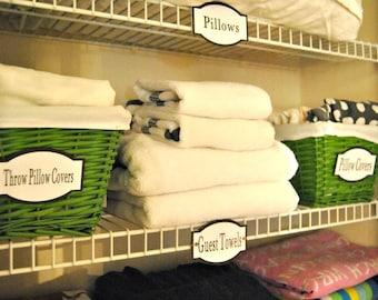 PDF: Bathroom Labels, Linen Closet Labels, Printable Organization Labels, Closet Organization, Closet Labels, Bathroom - Instant Download