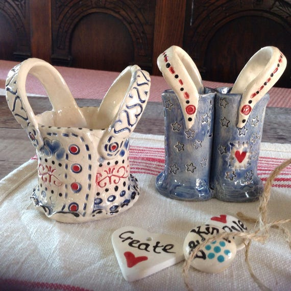Pair of tiny ceramic vases, dungarees, patchwork feel, quirky, fun, stitchy detail, unique