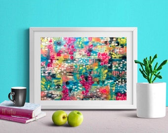 """Print of tropical flowers teal pink yellow coral abstract floral art """"paradise"""""""