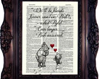 Best friend Gift Winnie the Pooh Art Winnie the Pooh Quote Winnie the Pooh Print How lucky I am to have Best Friend Goodbye Gift C:707