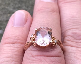 Magnificent 2.47 ct Morganite Diamond Accents Ring in 14 kt Rose Gold
