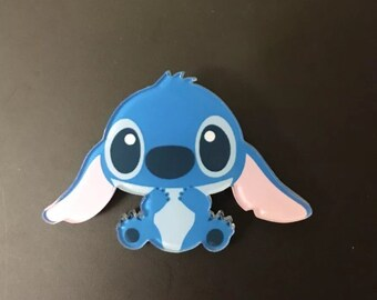 Lilo and stitch blue aloha brooch pin funky