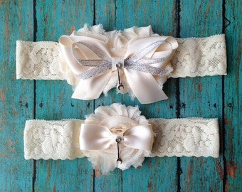 Ivory Mechanic Garter Set | Ivory Wedding Garters | Bridal Garter and Toss Garter | Other Colors and Prints Available | Customize