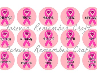 INSTANT DOWNLOAD Breast Cancer 1 Inch Bottle Cap Image Sheets *Digital Image* 4x6 Sheet With 15 Images